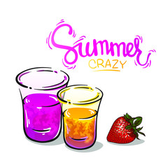 Summer crazy shots and cocktails with strawberry, vector illustration isolated on white background