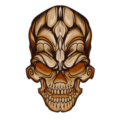 Ornament skull in brown color, line art style, vector illustration isolated on white background
