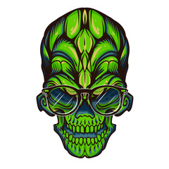 Green face totem of skull with fashion eyeglasses, vector illustration isolated on white background