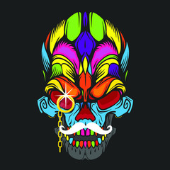 Ornament face of skull with gold monocle and white mustache, vector illustration isolated on black background
