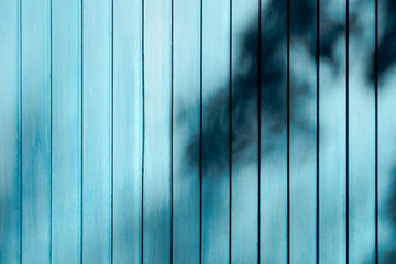 Colorful wooden slats with shadow tree background, Wooden planks background, Texture of outdoor colorful wooden wall, Blue wooden slats wallpaper