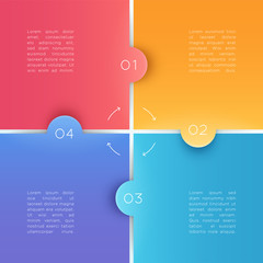 4 Square Steps 3d Background Numbers 1 to 4 Vector
