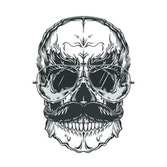 Grey illustration of skull with mustache and sunglasses. Isolated on white background.