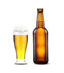 bottle and glass with fresh beer on the white background