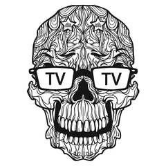 Vector ornament skull with tv eyeglasses. Isolated on white background. Ornament line art style. Black and white version. Death television.