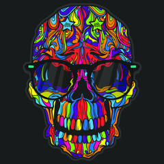 Vector Black Tattoo Skull Illustration isolated on dark background. Line art style. Fashion ornament face.