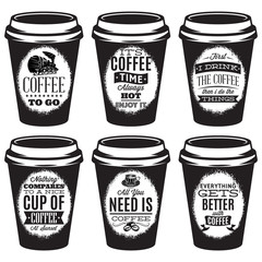 vector set of patterns for paper cups for coffee