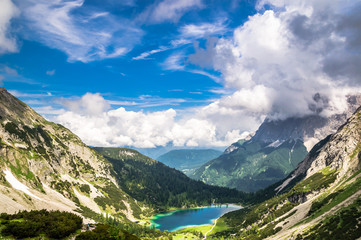 View on Seebensee and on zugspitze mountain