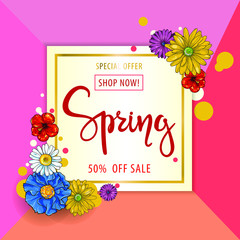Spring sale background. Vector illustration with cartoon flowers.Wallpaper.flyers, invitation, posters, brochure, voucher discount.