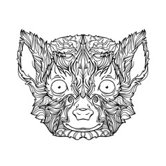 Ornament face of Madagascar lemur in black and white colors. Line art style. Vector illustration isolated on white background.