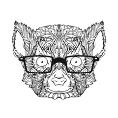 Ornament vector face of lemur in black and white colors. With eyeglasses. Vector illustration isolated on white background.