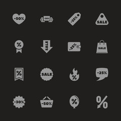 Discount Tags icons - Gray symbol on black background. Simple illustration. Flat Vector Icon.