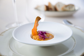 Sweet Potato Curry - topped with Sweet Potato Chips & Fermented Onions
