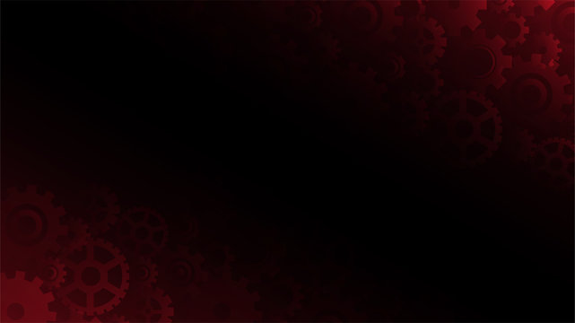 Abstract dark red gears background, vector illustration
