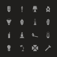 Light Source icons - Gray symbol on black background. Simple illustration. Flat Vector Icon.