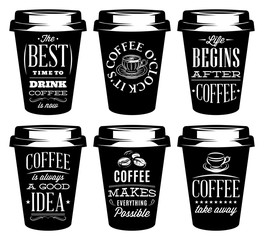 vector monochrome set of patterns for paper cups for coffee