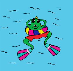 green frog in flippers floating in the sea