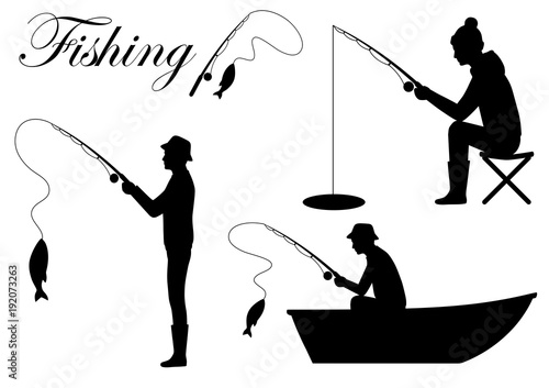 Vector Illustration Of A Silhouette Fisherman Icon Man