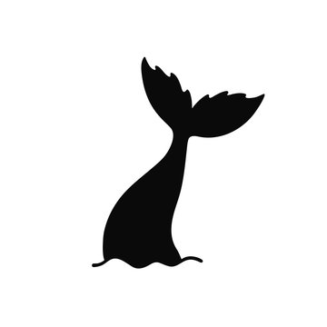 Hand drawn silhouette of mermaid's tail. Vector icon isolated on white background.