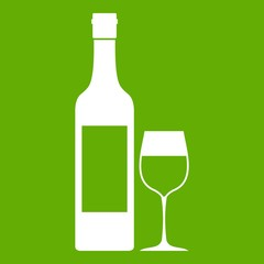 Bottle of wine icon green