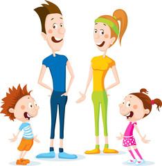 slim health family cartoon flat design illustration  - vector