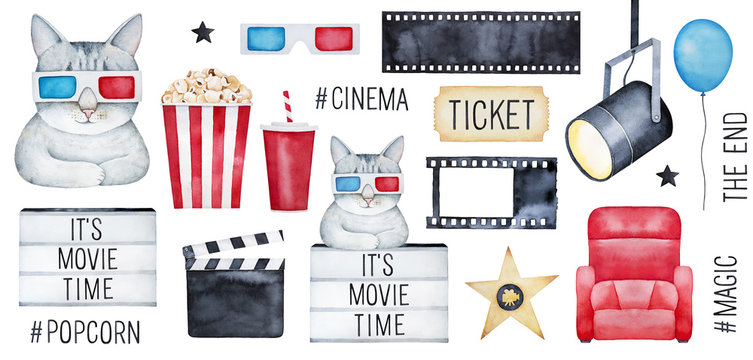 """Big Cinema Set with cute funny kitty character, """"Movie Time"""" elements, media hashtags, clapper, filmstrip. Red, blue, gold, black color. Hand drawn watercolour graphic drawing on white background."""