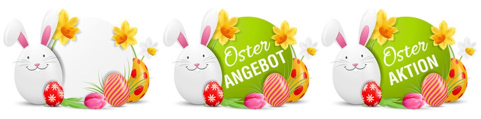 Ostern Aktion Angebot Buttons Set mit Osterhase und bemalten Ostereiern