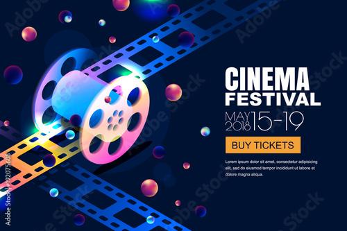 vector glowing neon cinema festival banner film reel in 3d