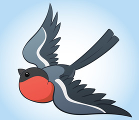 Flying bullfinch, simple hand drawn cartoon vector illustration