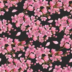 Watercolor spring blooming cherry tree branches seamless pattern, hand painted on a dark background