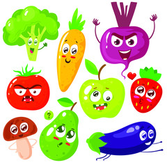 Cartoon vegetable cute characters face isolated on white background vector illustration. Funny vegetable face icon vector collection. Cartoon face food emoji. Vegetable emotion. Funny food concept.