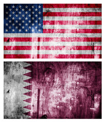 Two flags wooden textured. Relations