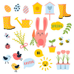 Vector Easter and spring set with cute bunnie with carrot, birds, chicken, eggs, flowers, birdhouses. Ladybug, butterfly, sun, boots. Collection of objects symbolizing the beginning of the spring.