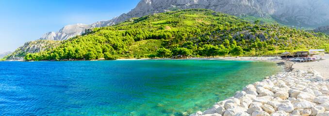 Beautiful empty beach in Makarska, Croatia