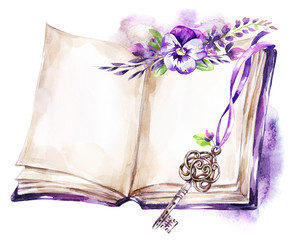 Watercolor illustration. Opened old book with a ribbon, pansy, leaves and key. Antique objects. Spring collection in violet shades. ClipArt, DIY, scrapbooking elements.