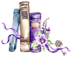 Watercolor illustration. A pile of old books with a bow, pansies, leaves and key. Antique objects. Spring collection in violet shades. ClipArt, DIY, scrapbooking elements.