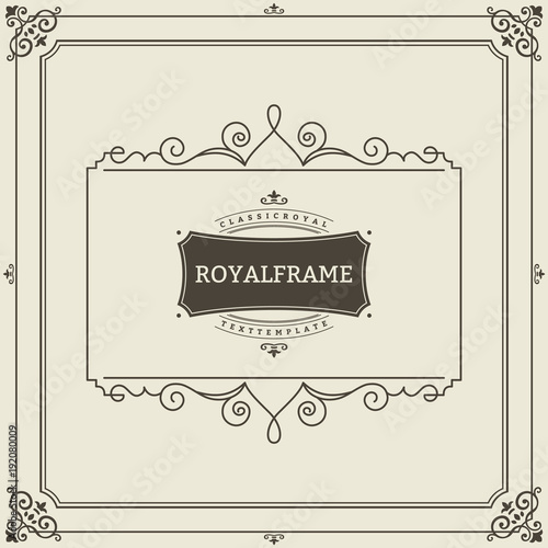 Invitation frame. Vintage ornament greeting card vector template ...