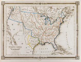 Antique map of United States of America, 1846, with the Republic of Texas