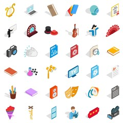 Concert version icons set, isometric style