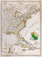 Antique map of the United States of America, 1812