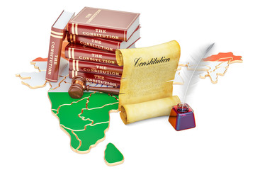 Constitution of India concept, 3D rendering