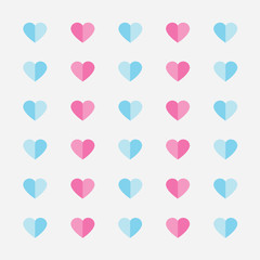 pastel color heart pattern- vector illustration