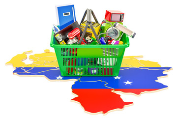 Map of Venezuela with shopping basket full of home and kitchen appliances, 3D rendering