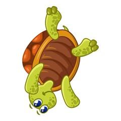 Turtle on head icon, cartoon style