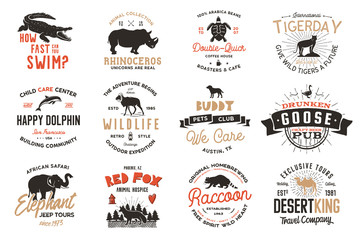 Wild animal Badges set and great outdoors activity insignias. Retro illustration of animal badges. Typographic camping style. Vector wild Animal logos with letterpress effect. Explorer quotes
