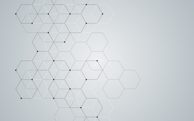 Illustration, hexagonal background. Digital geometric abstraction with lines and dots. Geometric abstract design.