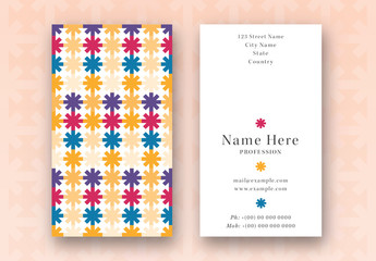 Business Card with Multicolored Asterisks