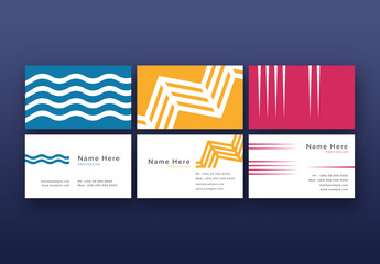 3 Business Card Layouts with Repeated Shapes