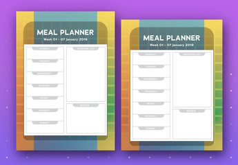 Weekly Meal Planner with Subdued Rainbow Background