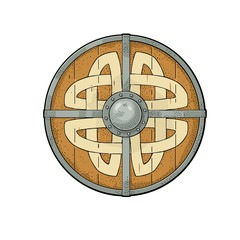 Wood round shield with viking runes. Vintage vector color engraving